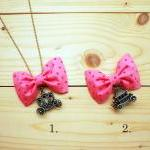 Bow Necklace, Pink polka do..