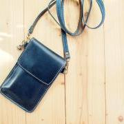 iPhone case, Leather bag with Strap, Dark Blue