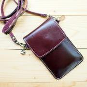 iPhone case, Leather bag with Strap, Purple