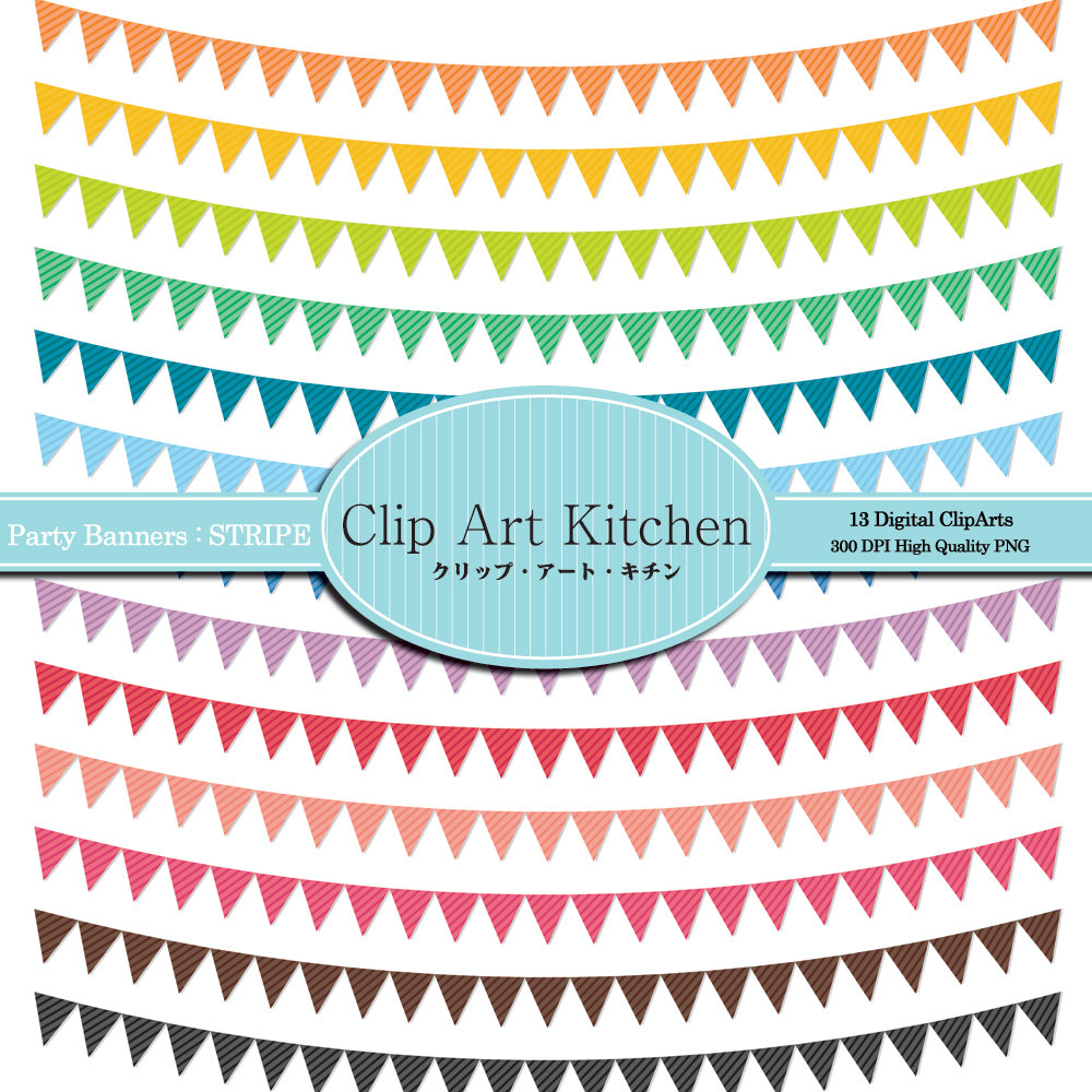 Party Banners Clip Art, Colorful Stripe Set on Luulla