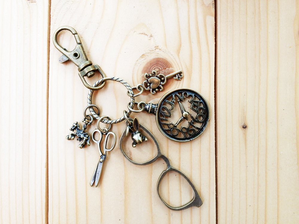 Charm Keychain, Glasses and Vintage Clock
