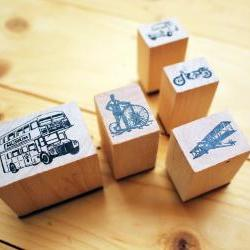 Wooden Rubber Stamp Box, Vintage Vehicle set