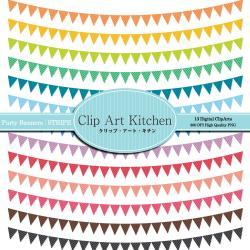 Party Banners Clip Art, Colorful Stripe set