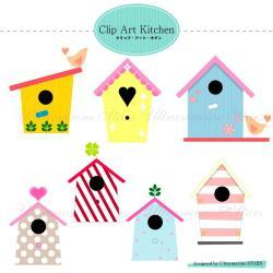 Printable Digital clip art : Love Bird House