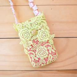 iPhone case, Lace bag with Strap, Lime Green and Pink