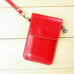 iPhone case, Leather bag with hand strap, RED
