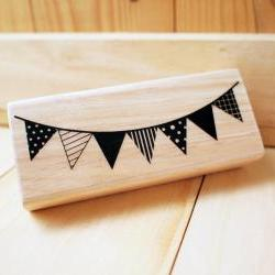 Wood Rubber Stamp, Party banner, Garland